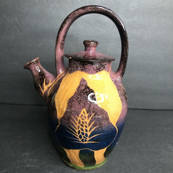 "VTG '99 Wassi Art 8"" Brown Ceramic Teapot  - chips"